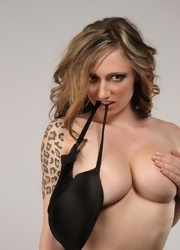 Lily Stripping Out Of Her Hot Black Lace - Picture 10