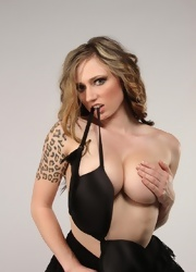 Lily Stripping Out Of Her Hot Black Lace - Picture 11