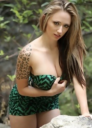 Lily Posing And Teasing In Her Green Dress With No Panties - Picture 4