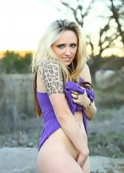 Lily Plays With Her Pussy In Her Purple Dress - Picture 14