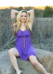 Lily Plays With Her Pussy In Her Purple Dress - Picture 1