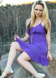 Lily Plays With Her Pussy In Her Purple Dress - Picture 3