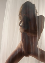Lily Poses Behind A Sheer Curtain And Teases - Picture 15