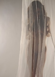 Lily Poses Behind A Sheer Curtain And Teases - Picture 2