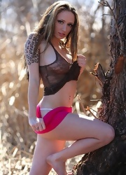 Lily Hiking In A Sheer Top - Picture 2