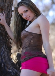 Lily Hiking In A Sheer Top - Picture 7
